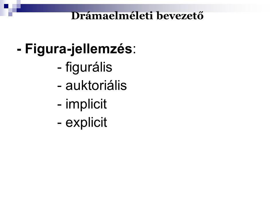 Drámaelméleti bevezető - Figura-jellemzés: - figurális - auktoriális - implicit - explicit