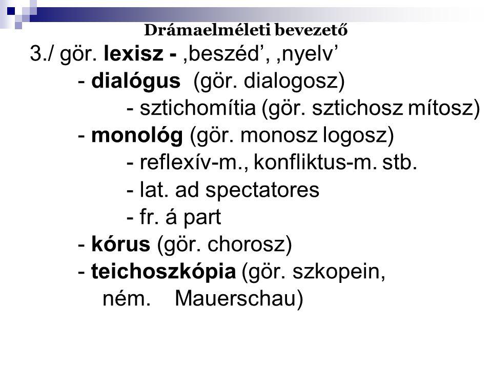 Drámaelméleti bevezető 3./ gör. lexisz -,beszéd',,nyelv' - dialógus (gör. dialogosz) - sztichomítia (gör. sztichosz mítosz) - monológ (gör. monosz log