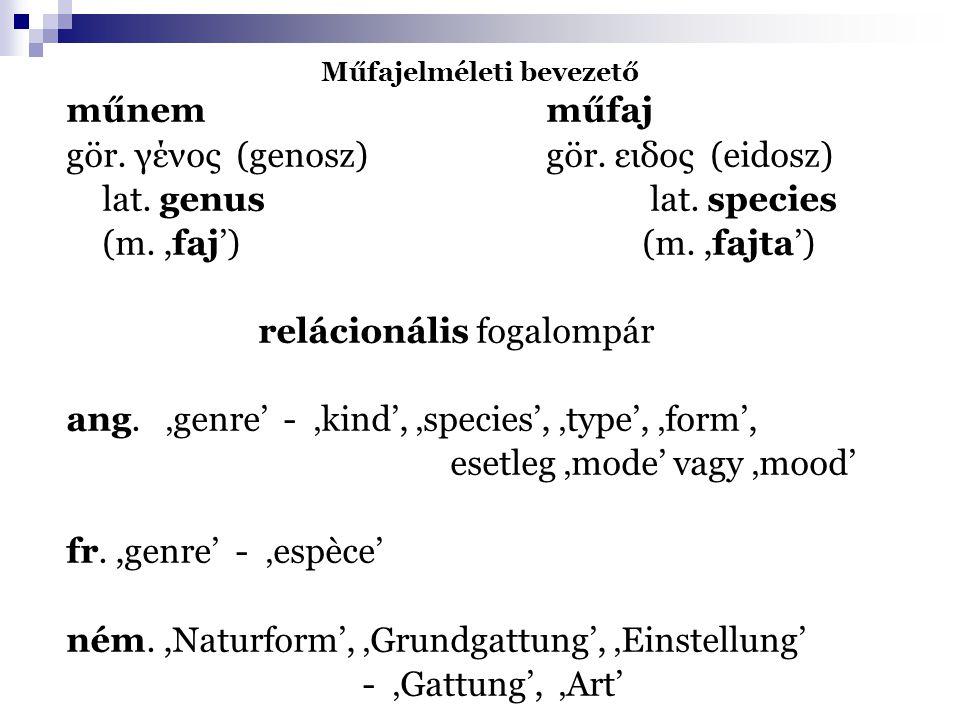 Műfajelméleti bevezető műnemműfaj gör. γένος (genosz) gör. ειδος (eidosz) lat. genus lat. species (m.,faj') (m.,fajta') relácionális fogalompár ang. '