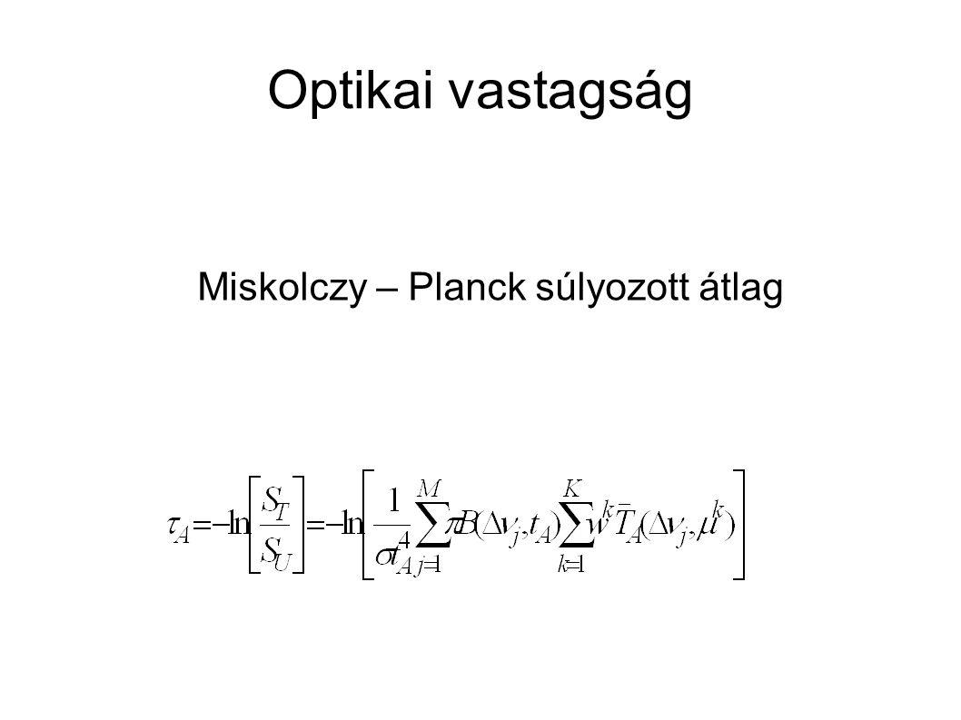 Optikai vastagság Miskolczy – Planck súlyozott átlag