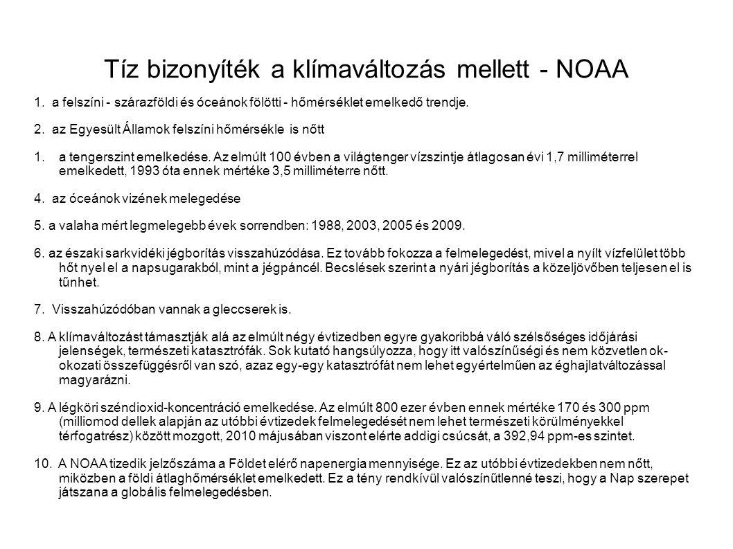 Tíz bizonyíték a klímaváltozás mellett - NOAA 1.
