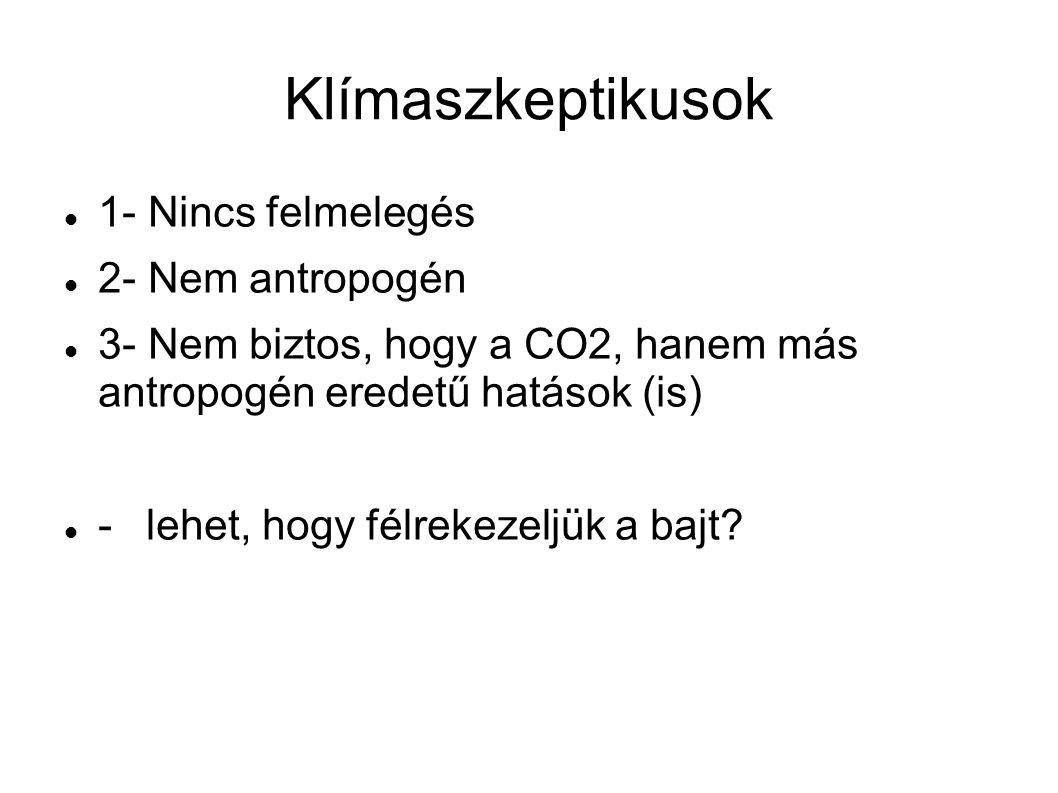 Klímaszkeptikusok 1- Nincs felmelegés 2- Nem antropogén 3- Nem biztos, hogy a CO2, hanem más antropogén eredetű hatások (is) - lehet, hogy félrekezeljük a bajt