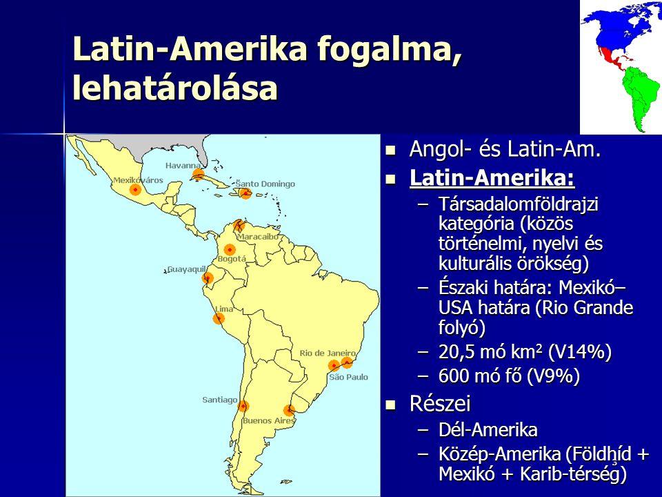 33 Latin-Amerika fogalma, lehatárolása Angol- és Latin-Am.