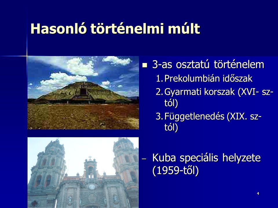 55 Mexikó, Guatemala, Andok: fejlett indián civilizációk Mexikó, Guatemala, Andok: fejlett indián civilizációk –Legsűrűbben lakott terület: Mexikói-magasföld (mint ma) –Városaik világviszonylatban óriásiak voltak –Maja-tolték kultúra (Yucatán-félszigetre költöztek) –Teotihuacan –Azték Birodalom Központja: Tenochtitlán (Mexikóváros elődje) Központja: Tenochtitlán (Mexikóváros elődje) –Inka Birodalom: Andok országai –Hatásuk ma is meghatározó Mesztic többség, nyelv, vallás, konyha Mesztic többség, nyelv, vallás, konyha Kuba, Karib térség, Amazónia Kuba, Karib térség, Amazónia –Kevésbé fejlett civilizációk Társadalomtörténet 1.
