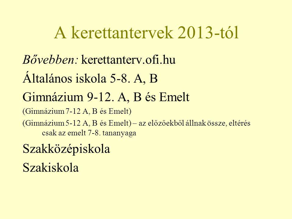 A kerettantervek 2013-tól Bővebben: kerettanterv.ofi.hu Általános iskola 5-8. A, B Gimnázium 9-12. A, B és Emelt (Gimnázium 7-12 A, B és Emelt) (Gimná