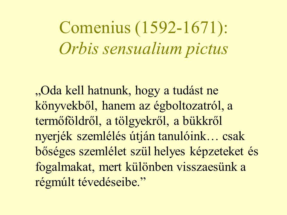"""Comenius (1592-1671): Orbis sensualium pictus """"Oda kell hatnunk, hogy a tudást ne könyvekből, hanem az égboltozatról, a termőföldről, a tölgyekről, a"""