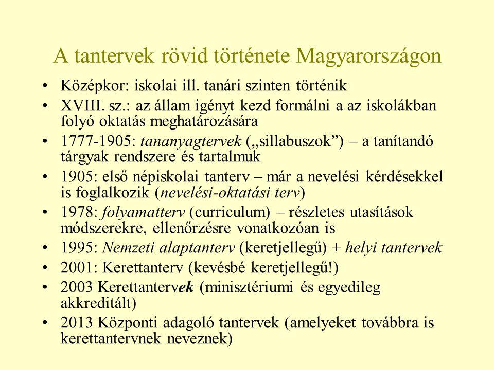 A tantervek rövid története Magyarországon Középkor: iskolai ill. tanári szinten történik XVIII. sz.: az állam igényt kezd formálni a az iskolákban fo
