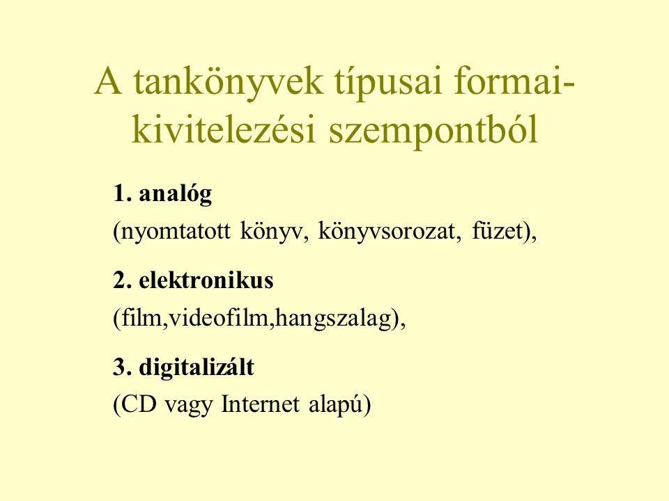 A tankönyvek típusai formai- kivitelezési szempontból 1. analóg (nyomtatott könyv, könyvsorozat, füzet), 2. elektronikus (film,videofilm,hangszalag),