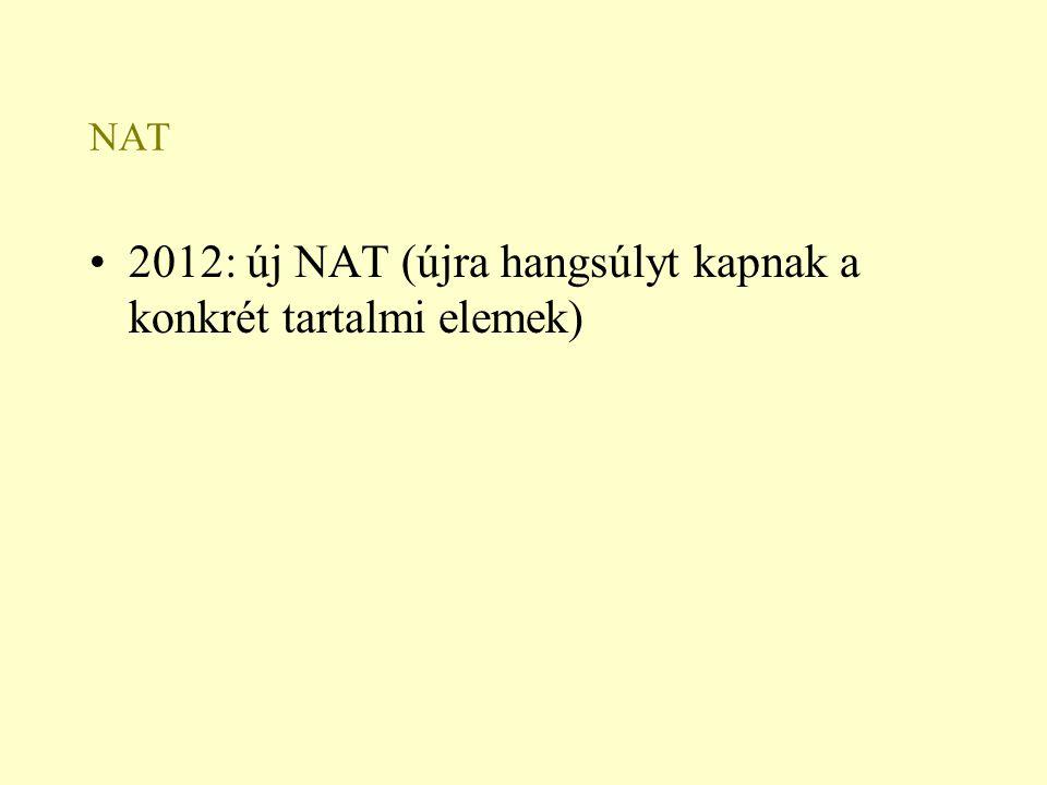 NAT 2012: új NAT (újra hangsúlyt kapnak a konkrét tartalmi elemek)