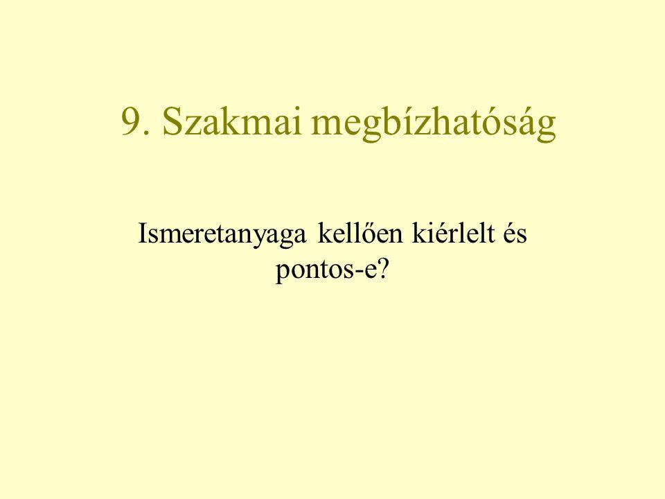 9. Szakmai megbízhatóság Ismeretanyaga kellően kiérlelt és pontos-e?