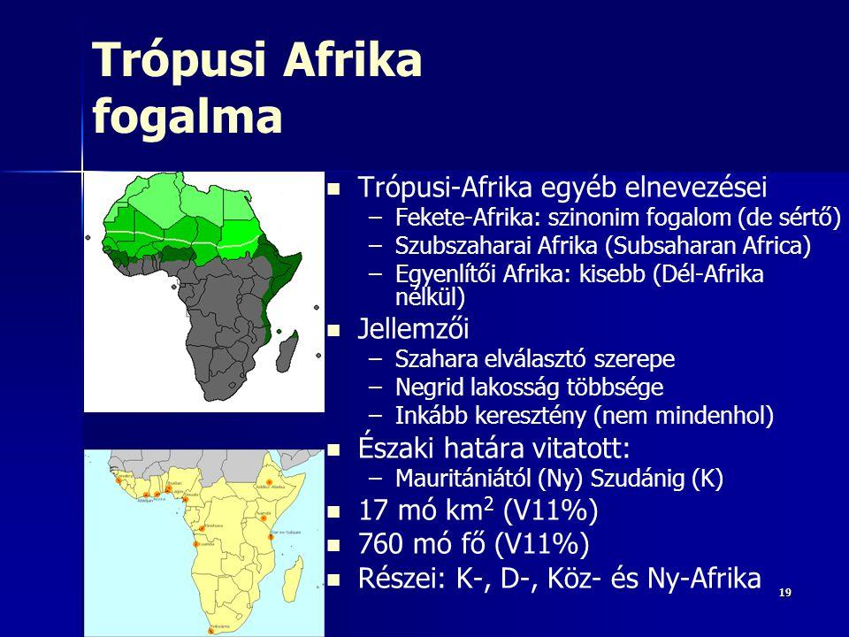 191919 Trópusi Afrika fogalma Trópusi-Afrika egyéb elnevezései – –Fekete-Afrika: szinonim fogalom (de sértő) – –Szubszaharai Afrika (Subsaharan Africa) – –Egyenlítői Afrika: kisebb (Dél-Afrika nélkül) Jellemzői – –Szahara elválasztó szerepe – –Negrid lakosság többsége – –Inkább keresztény (nem mindenhol) Északi határa vitatott: – –Mauritániától (Ny) Szudánig (K) 17 mó km 2 (V11%) 760 mó fő (V11%) Részei: K-, D-, Köz- és Ny-Afrika