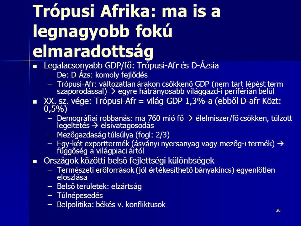 202020 Trópusi Afrika: ma is a legnagyobb fokú elmaradottság Legalacsonyabb GDP/fő: Trópusi-Afr és D-Ázsia – –De: D-Ázs: komoly fejlődés – –Trópusi-Afr: változatlan árakon csökkenő GDP (nem tart lépést term szaporodással)  egyre hátrányosabb világgazd-i periférián belül XX.