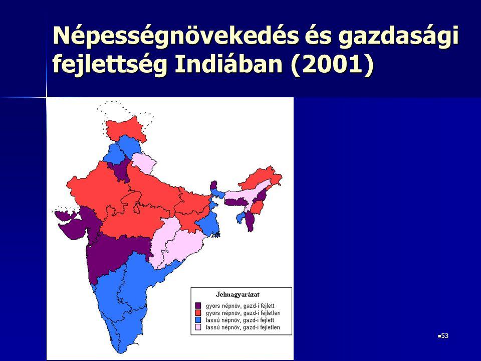 53 53 Népességnövekedés és gazdasági fejlettség Indiában (2001)