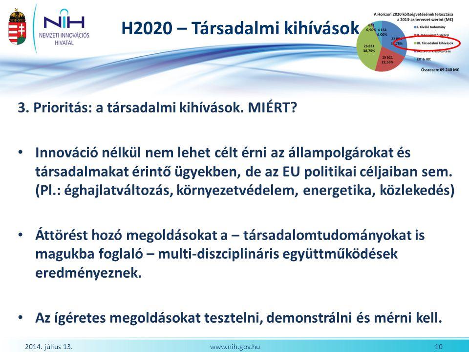 H2020 – Társadalmi kihívások 2014. július 13. 10www.nih.gov.hu 3. Prioritás: a társadalmi kihívások. MIÉRT? Innováció nélkül nem lehet célt érni az ál