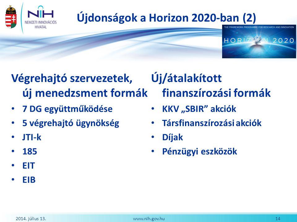 Újdonságok a Horizon 2020-ban (2) Végrehajtó szervezetek, új menedzsment formák 7 DG együttműködése 5 végrehajtó ügynökség JTI-k 185 EIT EIB Új/átalak