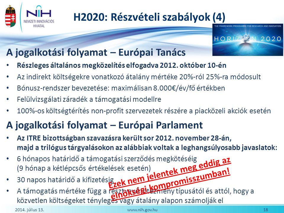 H2020: Részvételi szabályok (4) A jogalkotási folyamat – Európai Tanács Részleges általános megközelítés elfogadva 2012. október 10-én Az indirekt köl