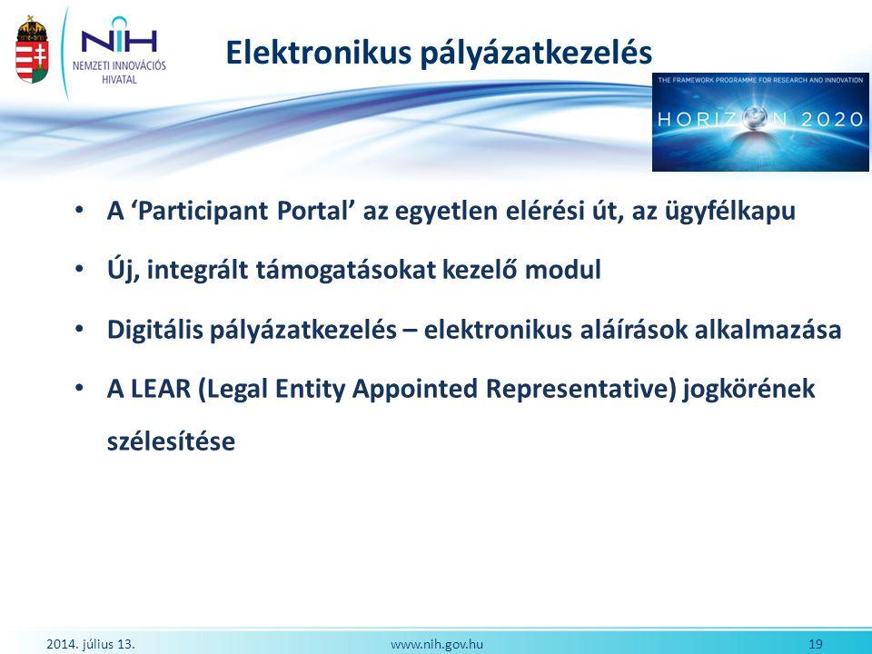 Elektronikus pályázatkezelés A 'Participant Portal' az egyetlen elérési út, az ügyfélkapu Új, integrált támogatásokat kezelő modul Digitális pályázatk