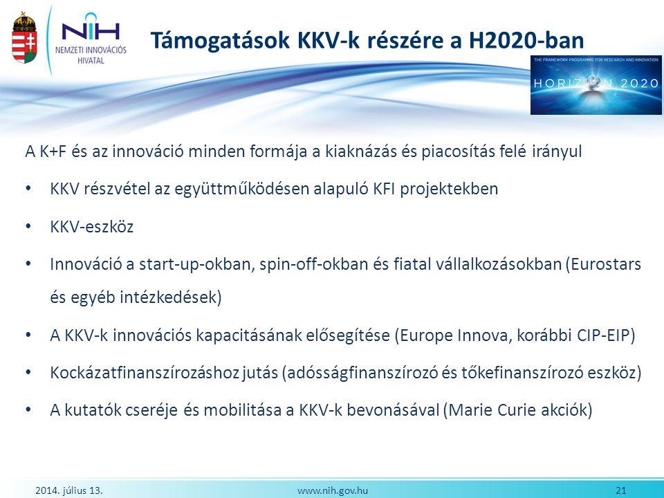Támogatások KKV-k részére a H2020-ban 2014. július 13. 21www.nih.gov.hu A K+F és az innováció minden formája a kiaknázás és piacosítás felé irányul KK