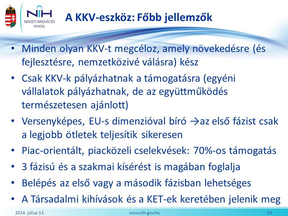 A KKV-eszköz: Főbb jellemzők 2014. július 13. 23www.nih.gov.hu Minden olyan KKV-t megcéloz, amely növekedésre (és fejlesztésre, nemzetközivé válásra)