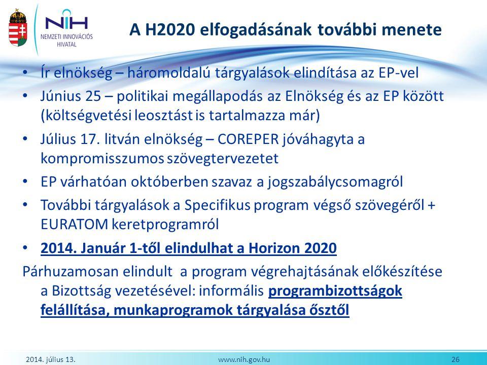 A H2020 elfogadásának további menete Ír elnökség – háromoldalú tárgyalások elindítása az EP-vel Június 25 – politikai megállapodás az Elnökség és az E