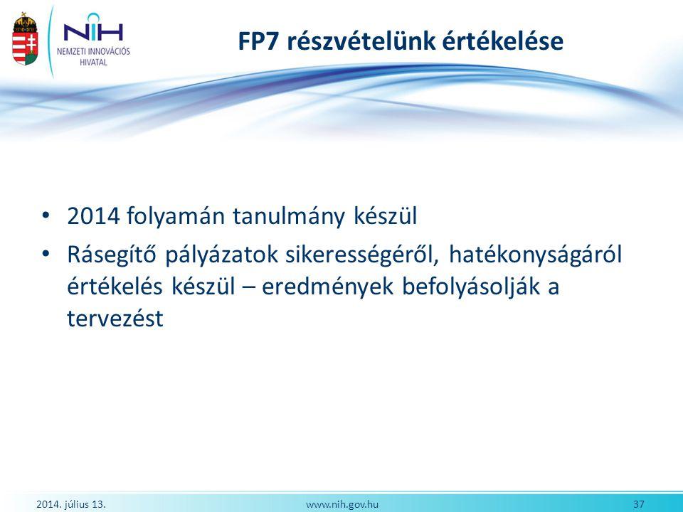 FP7 részvételünk értékelése 2014 folyamán tanulmány készül Rásegítő pályázatok sikerességéről, hatékonyságáról értékelés készül – eredmények befolyáso