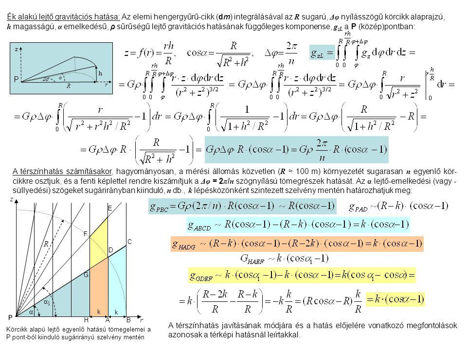 R Δφ z Ék alakú lejtő gravitációs hatása: Az elemi hengergyűrű-cikk (dm) integrálásával az R sugarú, Δφ nyílásszögű körcikk alaprajzú, h magasságú, α emelkedésű, ρ sűrűségű lejtő gravitációs hatásának függőleges komponense, g zL a P (közép)pontban: α P r h B C A D E F G k H R α α1α1 z r P A térszínhatás számításakor, hagyományosan, a mérési állomás közvetlen ( R ≈ 100 m) környezetét sugarasan n egyenlő kör- cikkre osztjuk, és a fenti képlettel rendre kiszámítjuk a Δφ = 2 π / n szögnyílású tömegrészek hatását.
