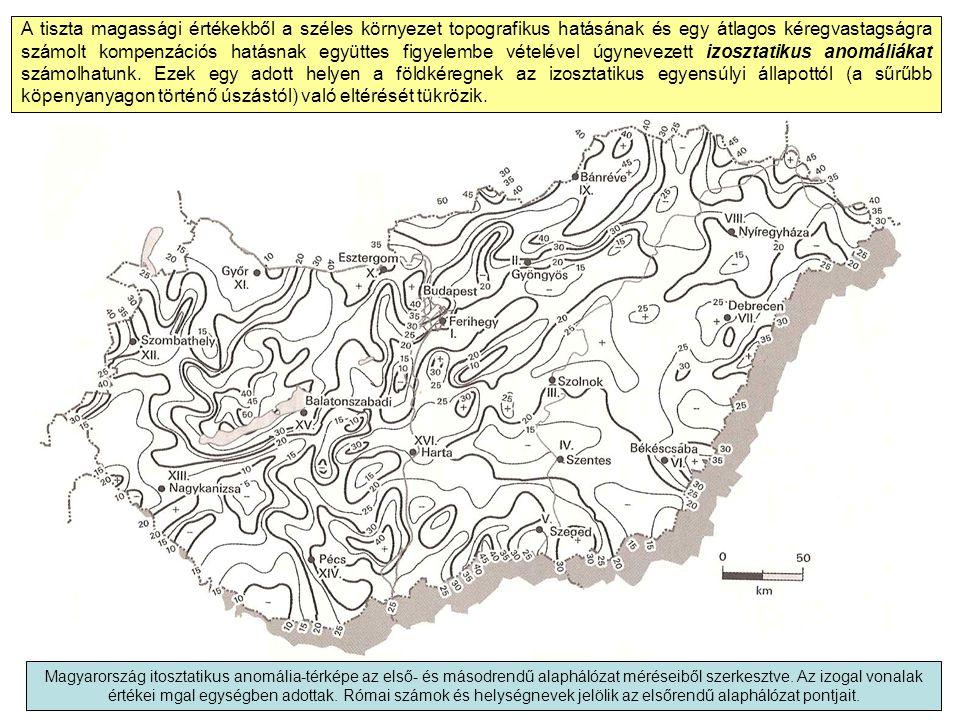 A tiszta magassági értékekből a széles környezet topografikus hatásának és egy átlagos kéregvastagságra számolt kompenzációs hatásnak együttes figyelembe vételével úgynevezett izosztatikus anomáliákat számolhatunk.