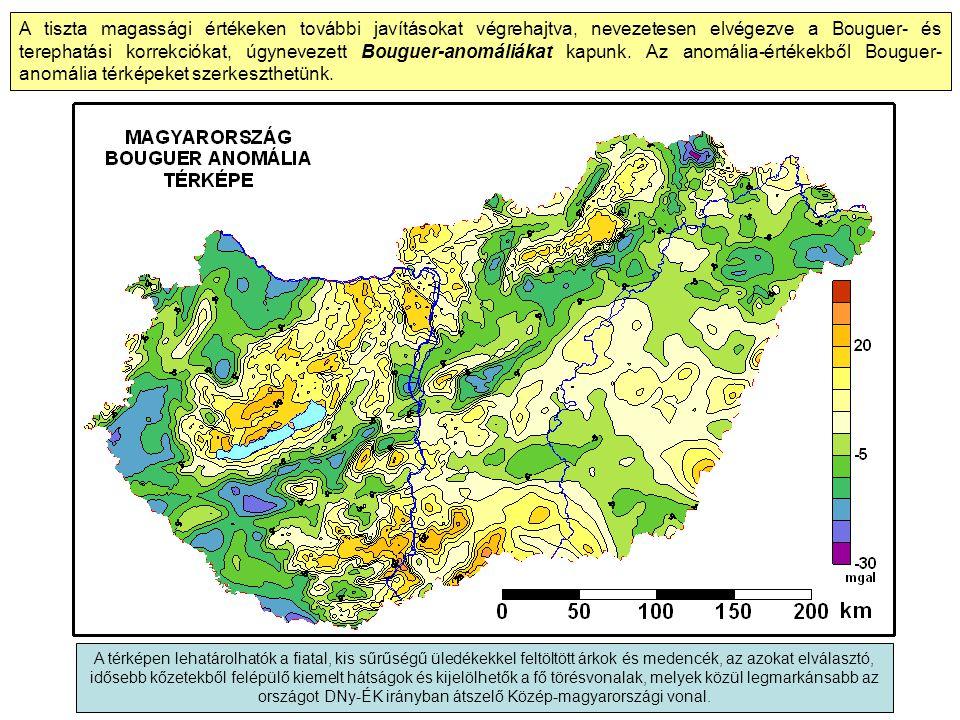 A tiszta magassági értékeken további javításokat végrehajtva, nevezetesen elvégezve a Bouguer- és terephatási korrekciókat, úgynevezett Bouguer-anomáliákat kapunk.