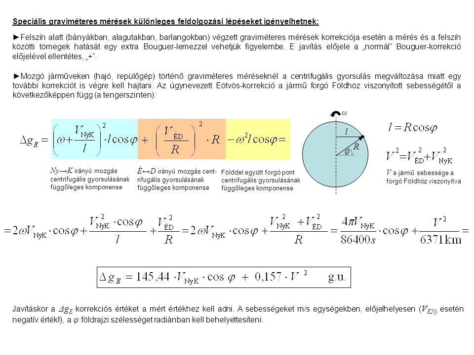 Speciális graviméteres mérések különleges feldolgozási lépéseket igényelhetnek: ►Felszín alatt (bányákban, alagutakban, barlangokban) végzett graviméteres mérések korrekciója esetén a mérés és a felszín közötti tömegek hatását egy extra Bouguer-lemezzel vehetjük figyelembe.