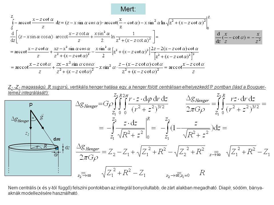 Mert: α z1z1 R φ drdr dzdz P dmdm Z 2 - Z 1 magasságú, R sugarú, vertikális henger hatása egy, a henger fölött centrálisan elhelyezkedő P pontban (lásd a Bouguer- lemez integrálását!): Nem centrális (x és y-tól függő) felszíni pontokban az integrál bonyolultabb, de zárt alakban megadható.