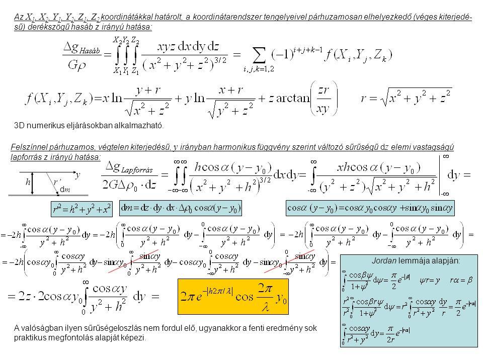 Az X 1, X 2, Y 1, Y 2, Z 1, Z 2 koordinátákkal határolt, a koordinátarendszer tengelyeivel párhuzamosan elhelyezkedő (véges kiterjedé- sű) derékszögű hasáb z irányú hatása: 3D numerikus eljárásokban alkalmazható.