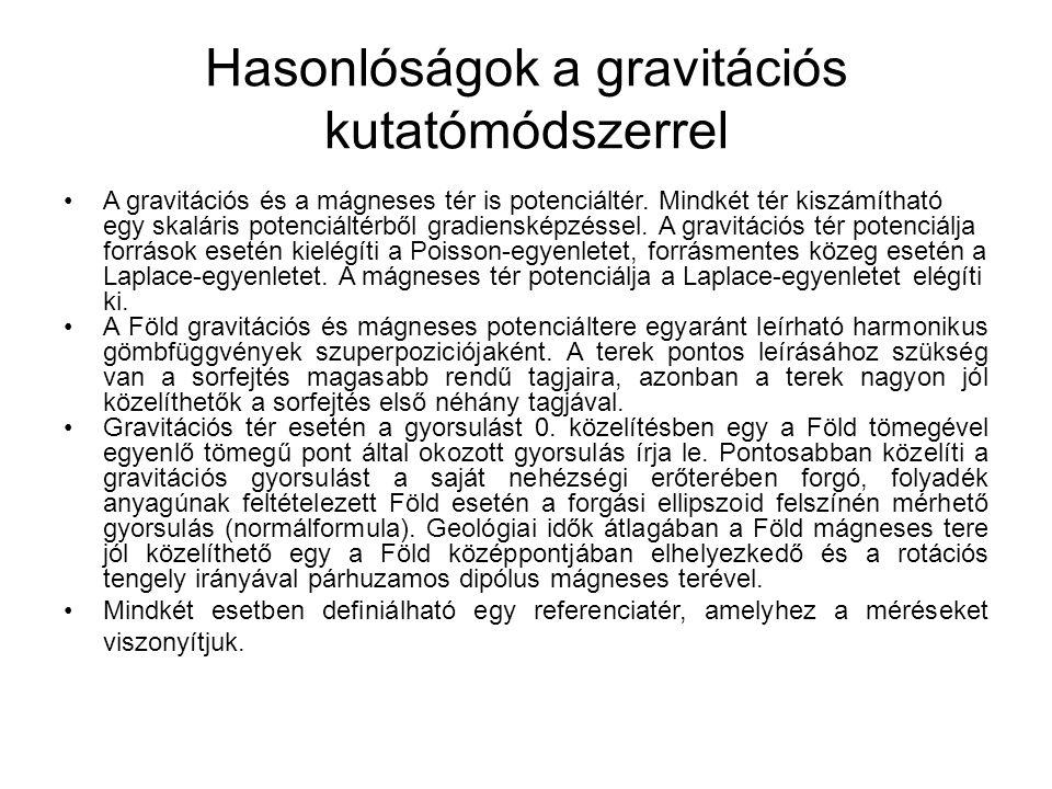 Hasonlóságok a gravitációs kutatómódszerrel A gravitációs és a mágneses tér is potenciáltér.