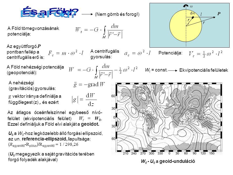 Az együttforgó P pontban fellép a centrifugális erő is: l A centrifugális gyorsulás: Potenciálja: P r'r' A Föld tömegvonzásának potenciálja: r A Föld nehézségi potencálja (geopotenciál): A nehézségi (gravitációs) gyorsulás: W t = const.