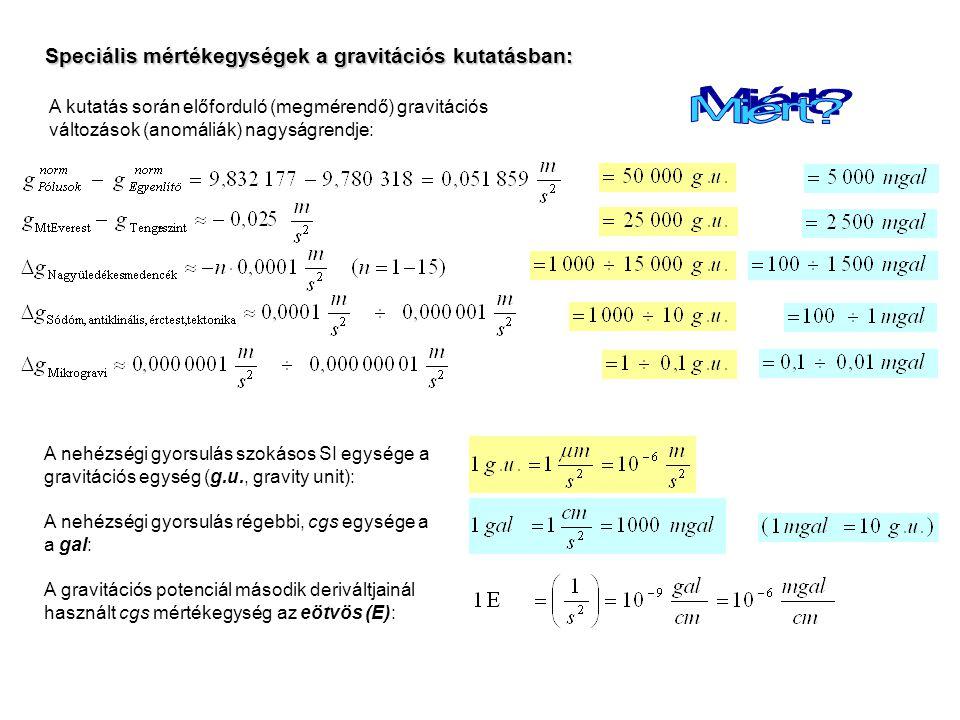 Speciális mértékegységek a gravitációs kutatásban: A nehézségi gyorsulás szokásos SI egysége a gravitációs egység (g.u., gravity unit): A nehézségi gyorsulás régebbi, cgs egysége a a gal: A gravitációs potenciál második deriváltjainál használt cgs mértékegység az eötvös (E): A kutatás során előforduló (megmérendő) gravitációs változások (anomáliák) nagyságrendje: