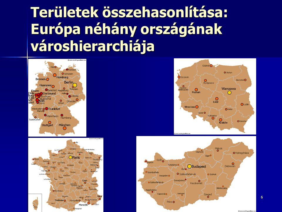 7 Eltérő településhierarchiák háttere Természeti környezet Természeti környezet –Domborzat (Alpok) –Éghajlat (Skandinávia) –Természeti erőforrások (konurbációk) Történelmi örökség Történelmi örökség –Birodalmi központok, határváltozások Politikai berendezkedés, közigazgatás Politikai berendezkedés, közigazgatás –Centralizált (szoc.), föderatív Közlekedési hálózatok Közlekedési hálózatok –Sugaras, rácsos Településhálózat-fejlesztés Településhálózat-fejlesztés –Növekedési pólusok vs.