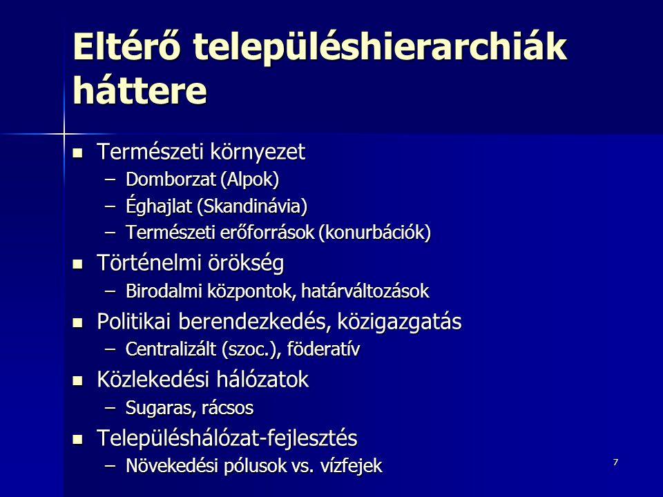 8 A sorrend-nagyság szabály Európa néhány országában, 2005-ben Adatok forrása: www.gazetteer.de A 4 ország közül Magyarország rendelkezik a legkoncentráltabb városhierarchiával A 4 ország közül Magyarország rendelkezik a legkoncentráltabb városhierarchiával