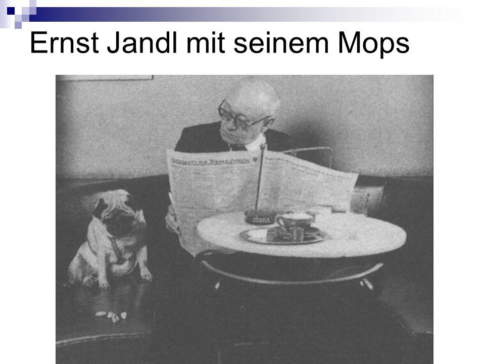 Ernst Jandl mit seinem Mops