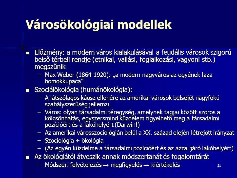 21 Városökológiai modellek Előzmény: a modern város kialakulásával a feudális városok szigorú belső térbeli rendje (etnikai, vallási, foglalkozási, va