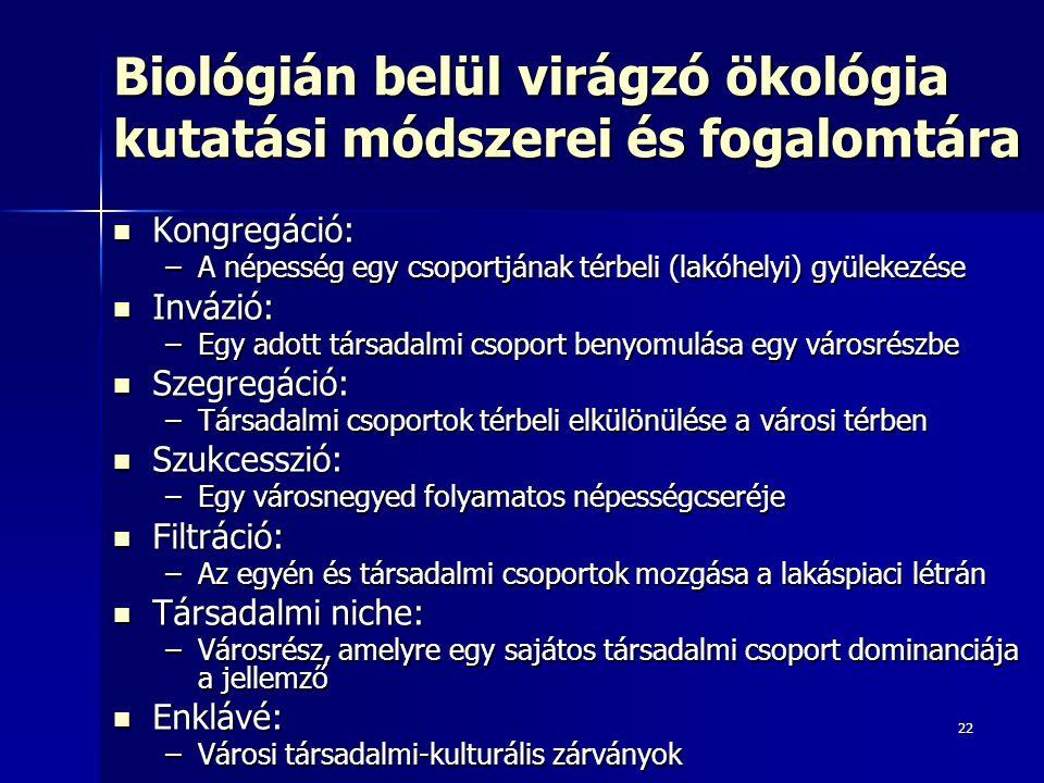 22 Biológián belül virágzó ökológia kutatási módszerei és fogalomtára Kongregáció: Kongregáció: –A népesség egy csoportjának térbeli (lakóhelyi) gyüle
