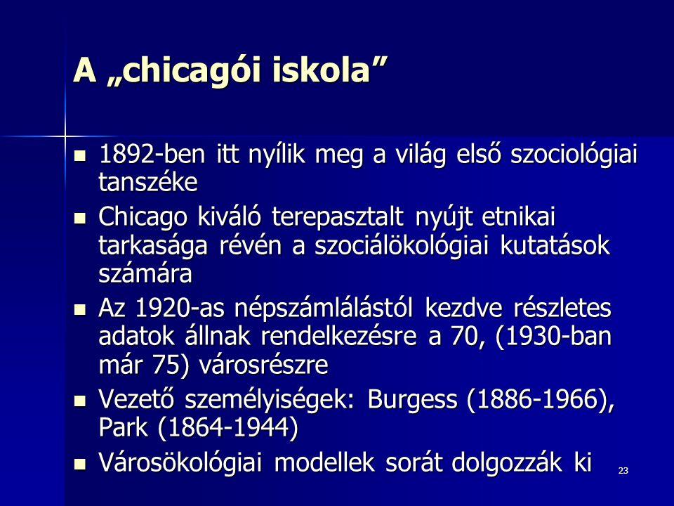"""23 A """"chicagói iskola"""" 1892-ben itt nyílik meg a világ első szociológiai tanszéke 1892-ben itt nyílik meg a világ első szociológiai tanszéke Chicago k"""
