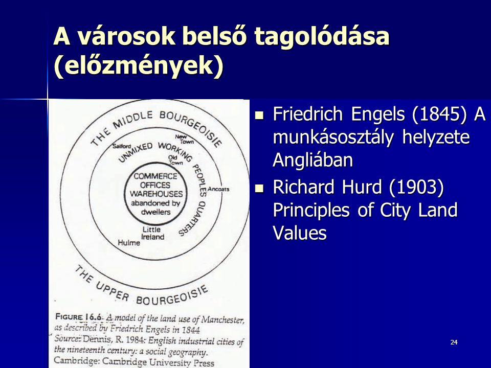 24 A városok belső tagolódása (előzmények) Friedrich Engels (1845) A munkásosztály helyzete Angliában Friedrich Engels (1845) A munkásosztály helyzete