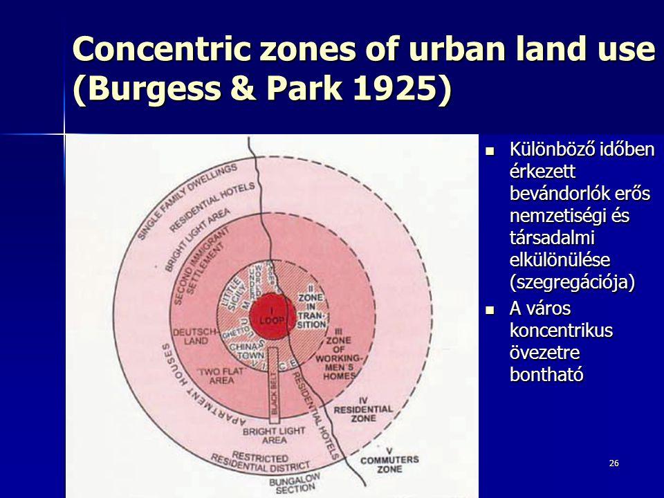 26 Concentric zones of urban land use (Burgess & Park 1925) Különböző időben érkezett bevándorlók erős nemzetiségi és társadalmi elkülönülése (szegreg