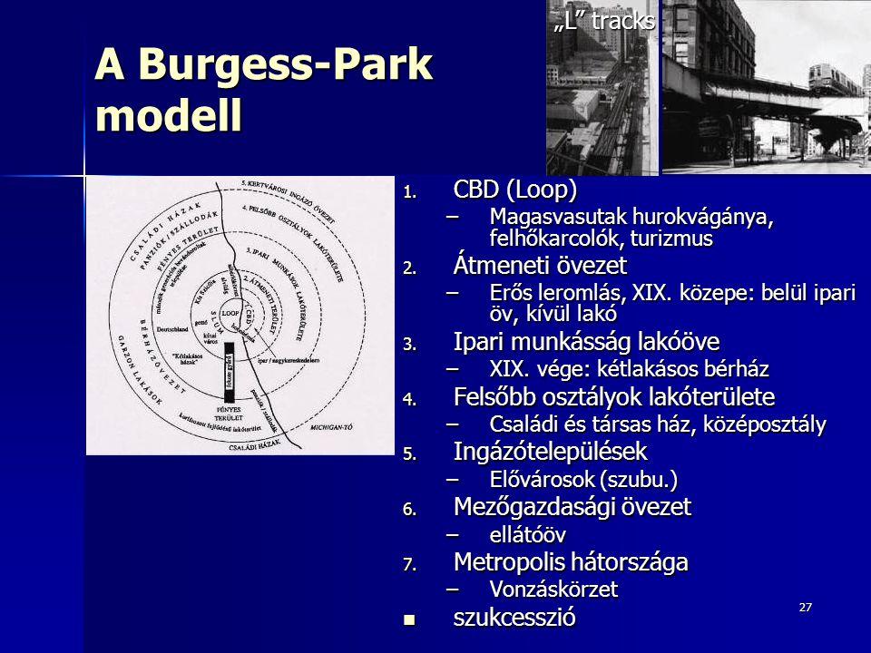27 A Burgess-Park modell 1. CBD (Loop) –Magasvasutak hurokvágánya, felhőkarcolók, turizmus 2. Átmeneti övezet –Erős leromlás, XIX. közepe: belül ipari