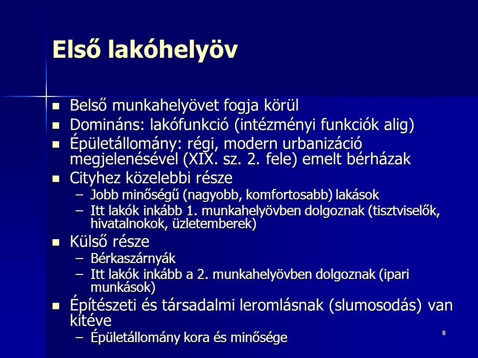 8 Első lakóhelyöv Belső munkahelyövet fogja körül Belső munkahelyövet fogja körül Domináns: lakófunkció (intézményi funkciók alig) Domináns: lakófunkc