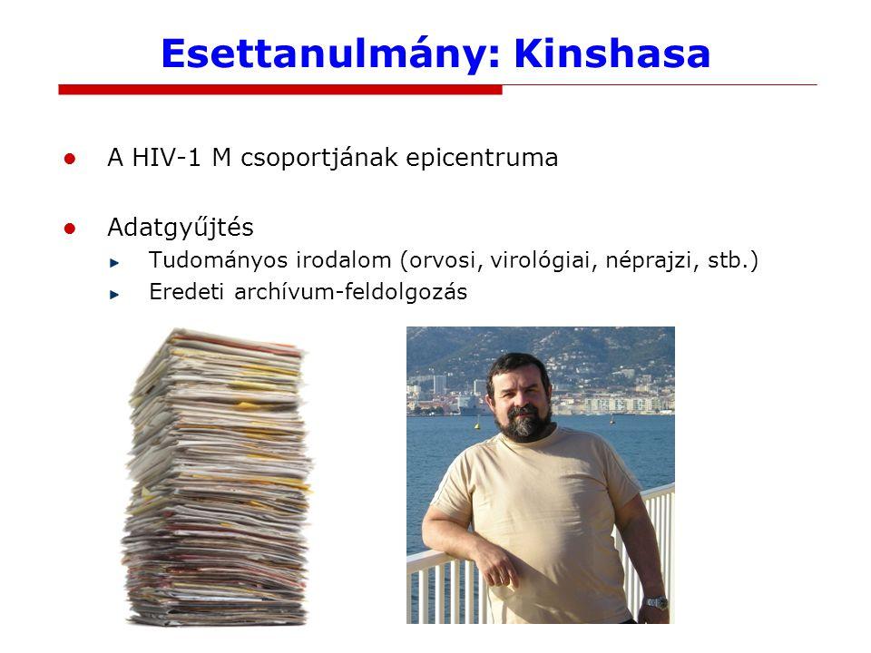 Esettanulmány: Kinshasa A HIV-1 M csoportjának epicentruma Adatgyűjtés Tudományos irodalom (orvosi, virológiai, néprajzi, stb.) Eredeti archívum-feldolgozás