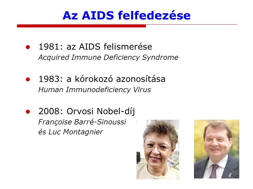 Az AIDS felfedezése 1981: az AIDS felismerése Acquired Immune Deficiency Syndrome 1983: a kórokozó azonosítása Human Immunodeficiency Virus 2008: Orvosi Nobel-díj Françoise Barré-Sinoussi és Luc Montagnier
