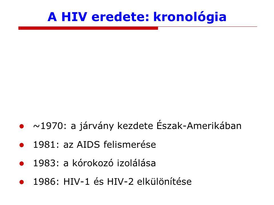 A HIV eredete: kronológia ?: a HIV-1 eredete ?: a HIV-2 eredete 1959: a legrégebbi izolátum (Kinshasa) ~1965: járványos terjedés kezdete Afrikában ~1970: a járvány kezdete Észak-Amerikában 1981: az AIDS felismerése 1983: a kórokozó izolálása 1986: HIV-1 és HIV-2 elkülönítése