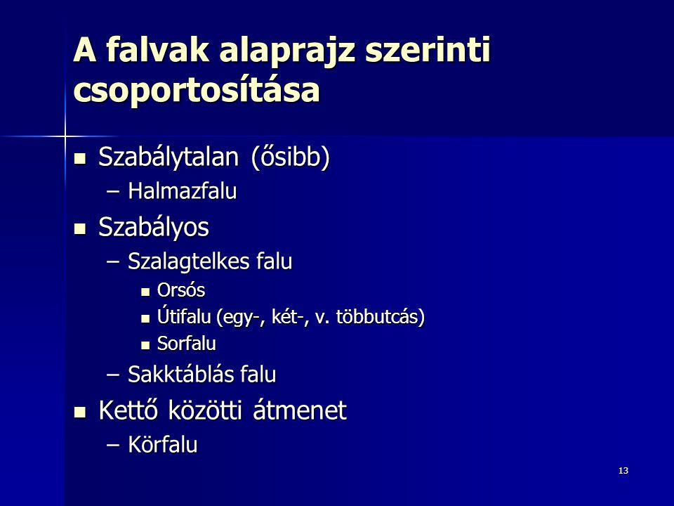 13 A falvak alaprajz szerinti csoportosítása Szabálytalan (ősibb) Szabálytalan (ősibb) –Halmazfalu Szabályos Szabályos –Szalagtelkes falu Orsós Orsós