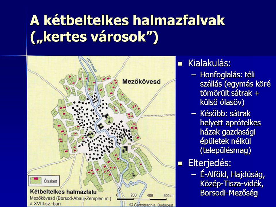 """17 A kétbeltelkes halmazfalvak (""""kertes városok"""") Kialakulás: Kialakulás: –Honfoglalás: téli szállás (egymás köré tömörült sátrak + külső ólasöv) –Kés"""