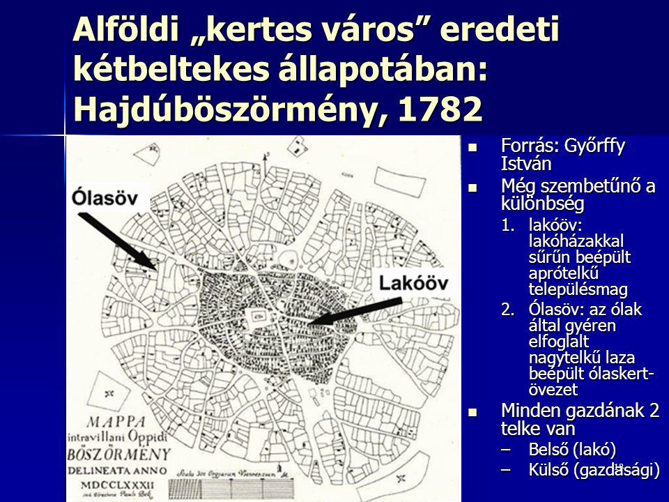 """18 Alföldi """"kertes város"""" eredeti kétbeltekes állapotában: Hajdúböszörmény, 1782 Forrás: Győrffy István Forrás: Győrffy István Még szembetűnő a különb"""